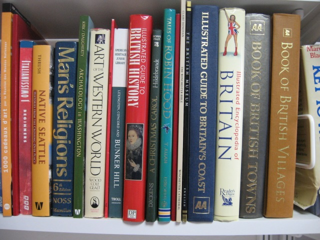 A modest FEW of the books on Britain in my at-home-traveler library